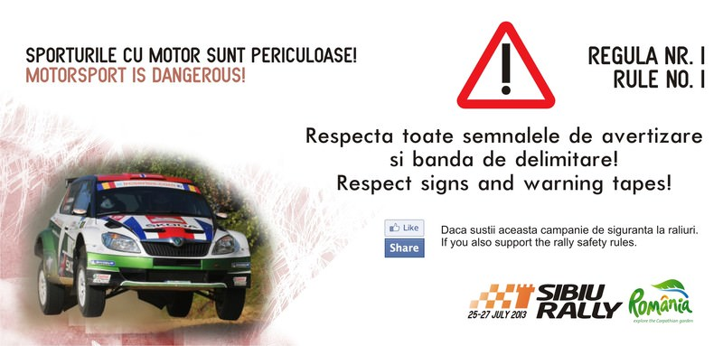 Campanie de siguranta pe probele speciale la Raliul Sibiului Romania