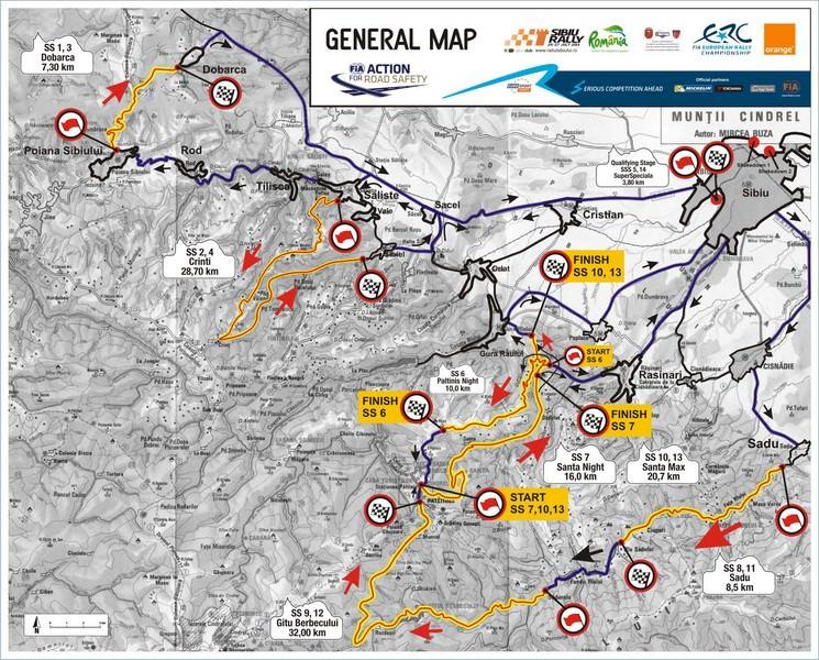 Raliul Sibiului 2013: 228 kilometri impartiti in 14 probe speciale