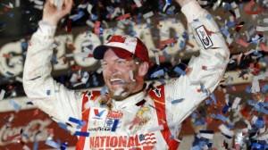 Dale Earnhardt Jr. celebrates in Victory Lane after winning the NASCAR Daytona 500 Sprint Cup series auto race at Daytona International Speedway in Daytona Beach, Fla., Sunday, Feb. 23, 2014
