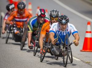 Alessandro Zanardi competes in the final race of the Paracycling Championships 2014